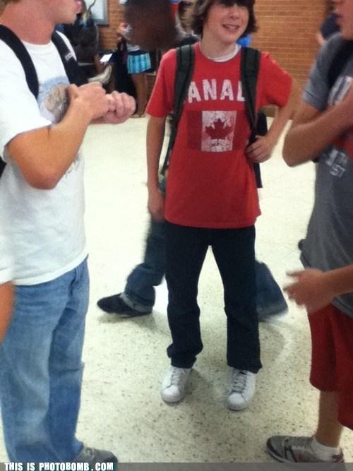 Awkward,backpack,Canada,teens,T.Shirt