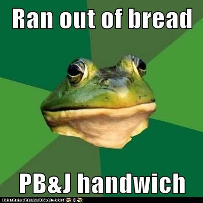 Ran out of bread  PB&J handwich
