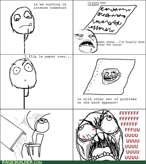 fu guy,homework,Rage Comics,table flip,truancy story