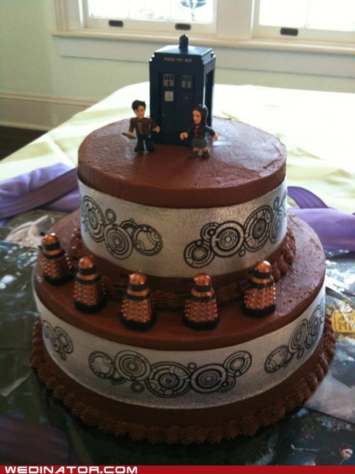 cake toppers,cakes,daleks,doctor who,funny wedding photos