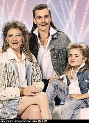 family photo,mullets,stonewashed jeans
