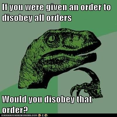 Animal Memes: Philosoraptor - Yes, Sir... I Mean No, Sir. I Mean... Wait