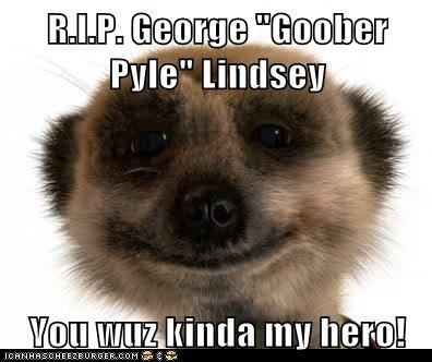"R.I.P. George ""Goober Pyle"" Lindsey   You wuz kinda my hero!"