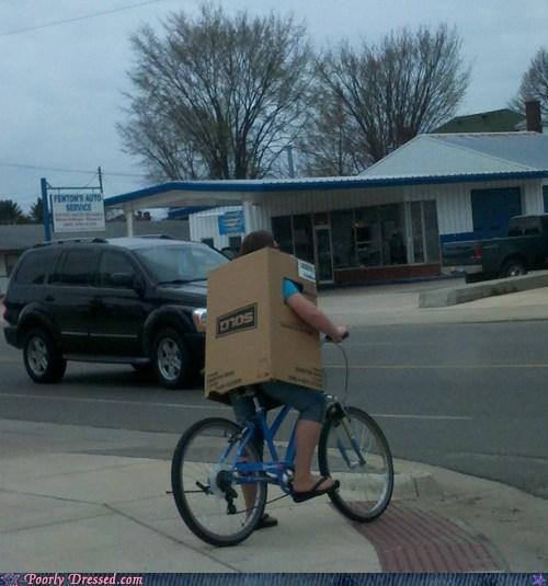 bike,box,cardboard,rain