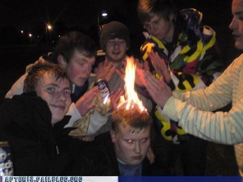 bro,bros,fire,hair on fire,head on fire