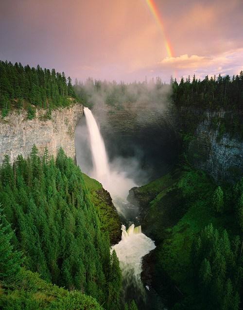 Canada,Forest,rainbow,waterfall