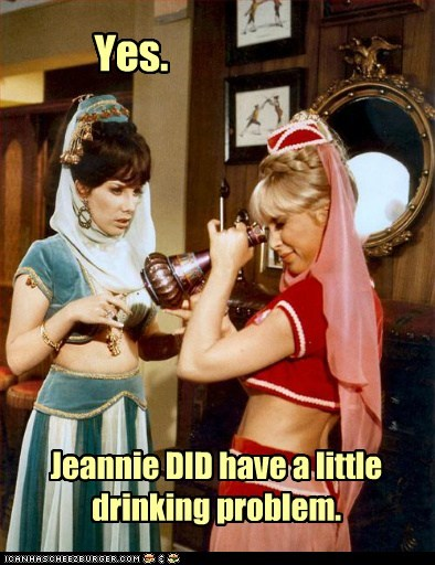 airplane,drinking problem,I Dream of Jeannie,reference