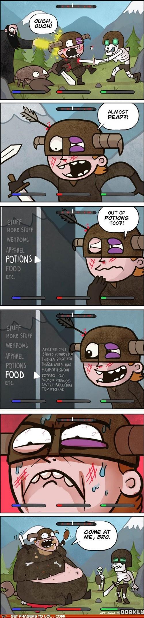 comic,damage,dead,desperate,eating,fat,food,healing,last resort,Skyrim