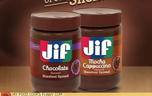chocolate,hazelnut,jif,nutella,peanut butter,spread