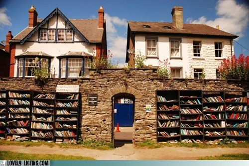 books,library,outdoors,shelves