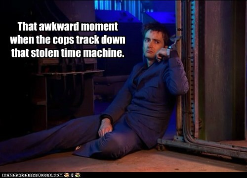 cops,David Tennant,doctor who,handcuffs,stolen,tardis,that awkward moment,the doctor,time machine