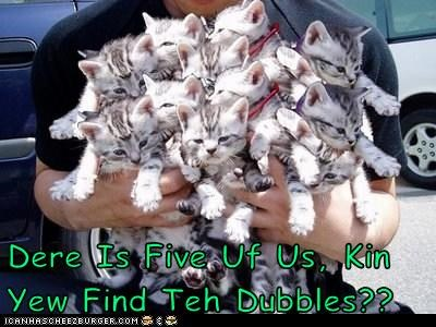Dere Is Five Uf Us, Kin Yew Find Teh Dubbles??