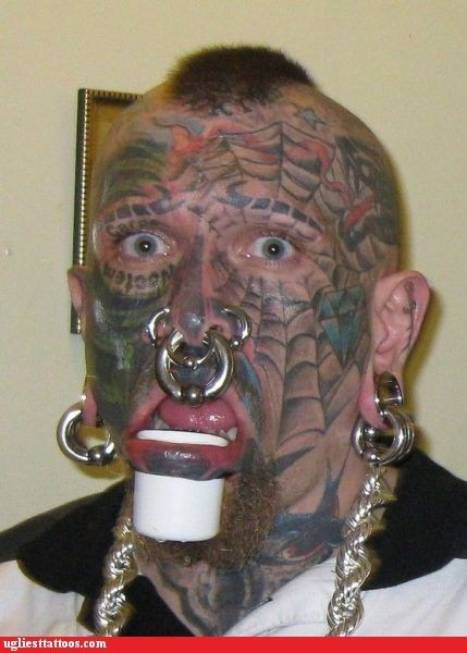 face tattoos,Hall of Fame,piercings,spiderweb,Ugliest Tattoos