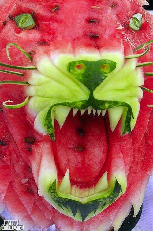 carving,food,g rated,Hall of Fame,lion,meow,roar,watermelon,win