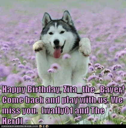 Happy Birthday, Zita_the_Bayer! Come back and play with us. We miss you.  (wally01 and The Herd)