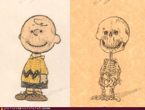 cartoons,charlie brown,skeleton,structure,wtf