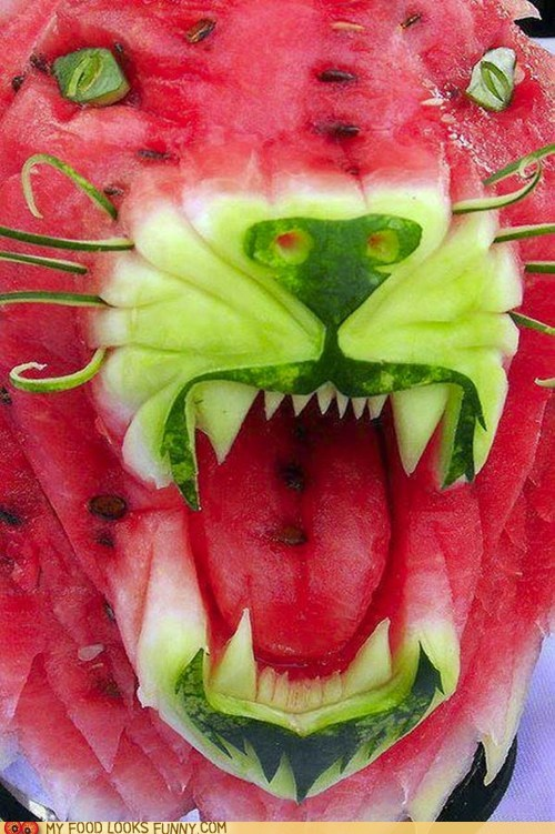 big cat,carved,face,lion,tiger,watermelon