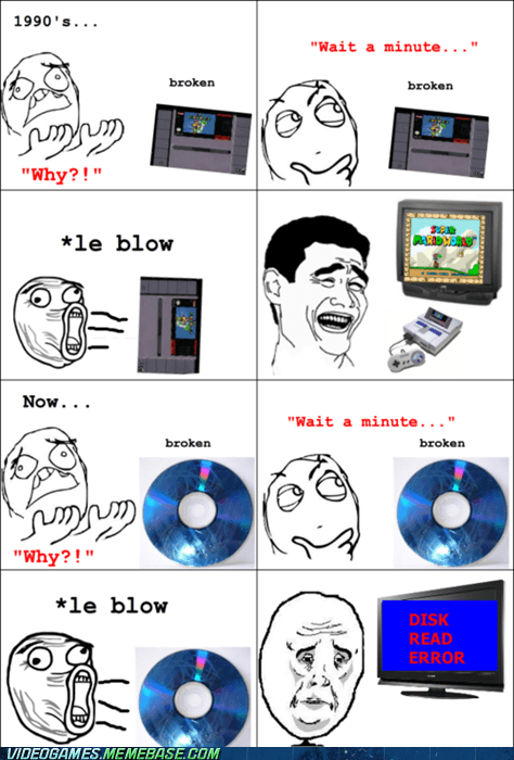 blow,discs,disk read error,rage comic,Super Nintendo
