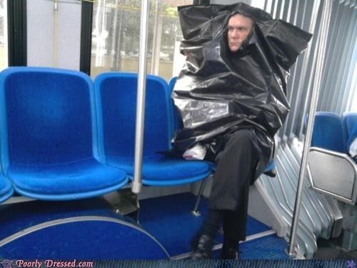 bag,bus,poncho,trash,trash bag