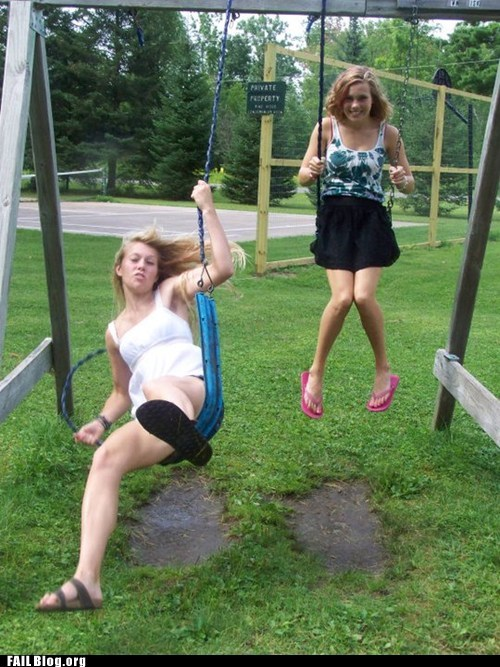 breaking,girls,park,swing set