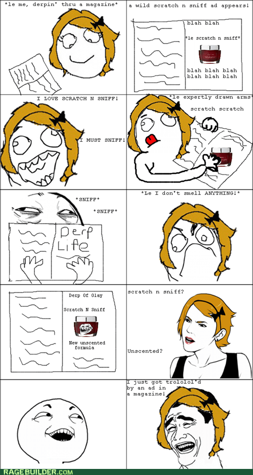 magazine,Rage Comics,scratch and sniff,unscented