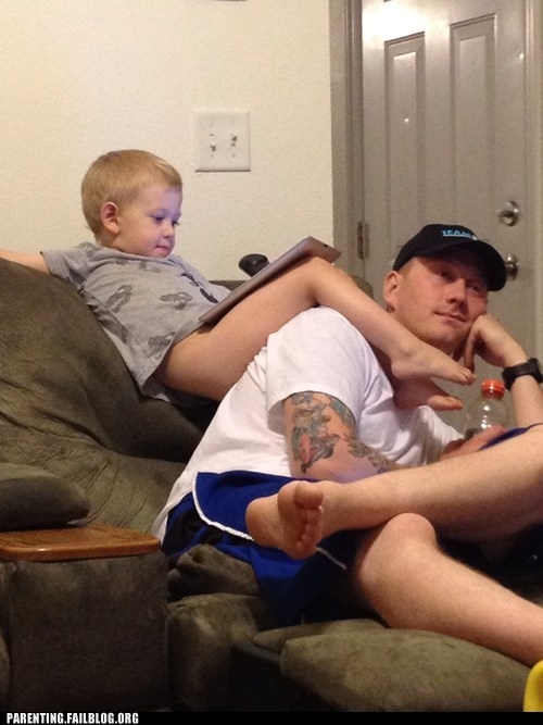 couch,dad,no pants,son