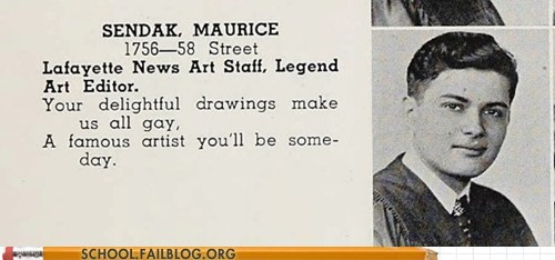 famous dead people,maurice sendak,where the wild things are,yearbooks