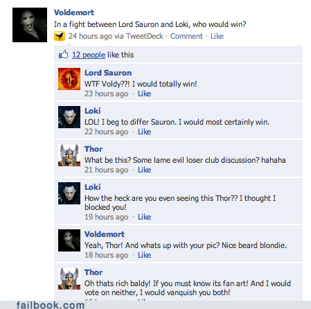 failbook,fanfic,g rated,Harry Potter,loki,Lord of the Rings,sauron,The Avengers,Thor,voldemort