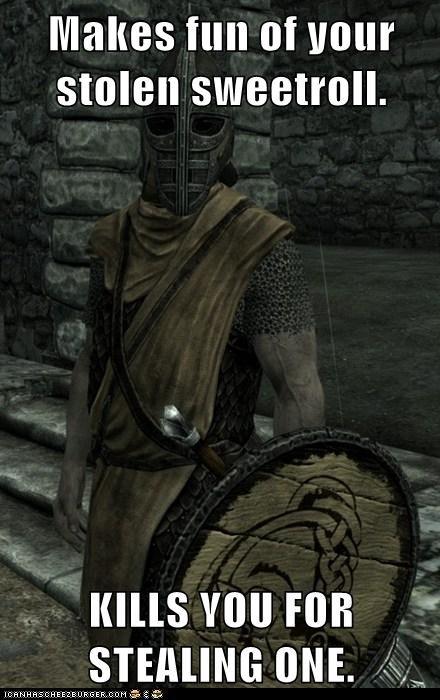 guard,kills,making fun,Skyrim,stealing,sweetroll,whiterun