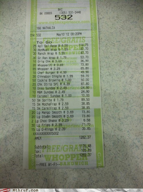 burger king,drive thru,fast food,receipt,whopper