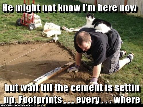 He might not know I'm here now  but wait till the cement is settin up. Footprints . . . every . . . where
