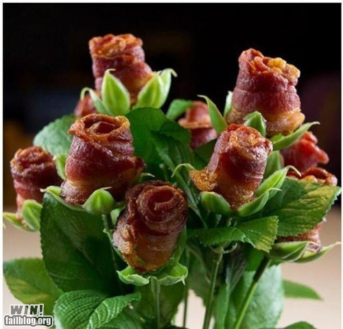 bacon,bouquet,food,g rated,rose,tasty,win