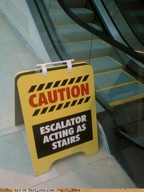 escalator,IRL,sign,stairs