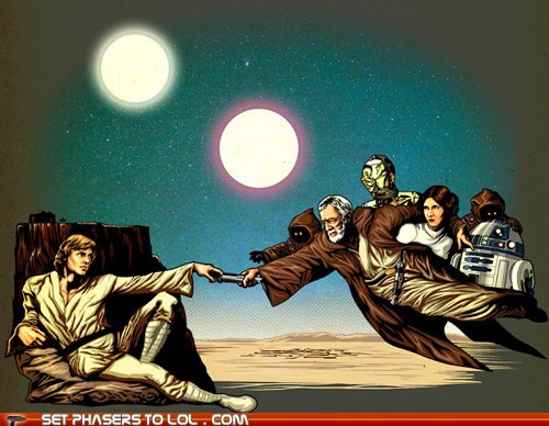art,c3p0,creation of adam,jawas,luke skywalker,obi-wan kenobi,painting,Princess Leia,r2d2,star wars