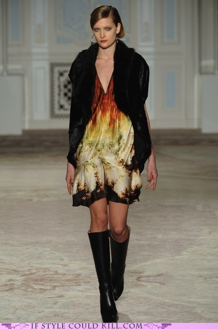 cool accessories,dress,flames,runway