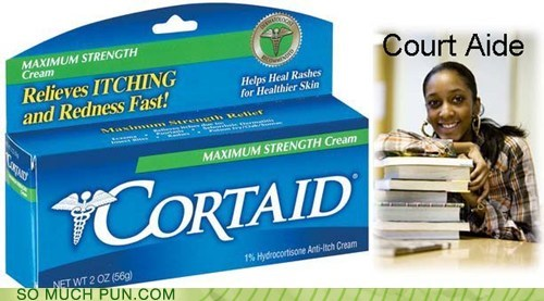 aide,comparison,cortaid,court,homophones,literalism,side by side