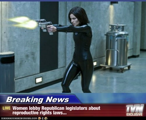 Breaking News - Women lobby Republican legislators about reproductive rights laws...