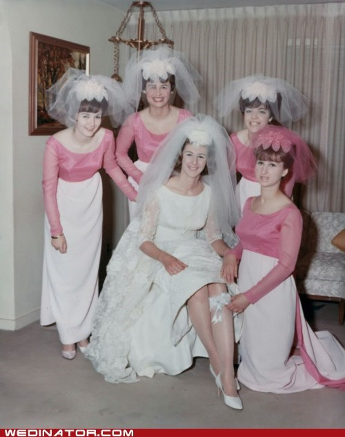 brides,briesmaids,funny wedding photos,retro