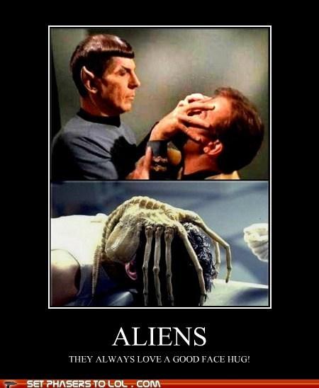 alien,Aliens,face hugger,Leonard Nimoy,love,mind meld,Star Trek,Vulcan,William Shatner