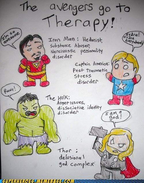 art avengers,Awesome Art,captain america,hulk,iron man,superheroes,therapy,Thor