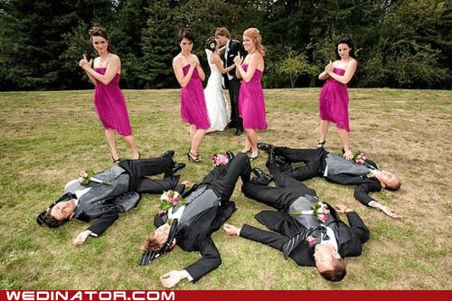 bridesmaids,funny wedding photos,guns,KISS