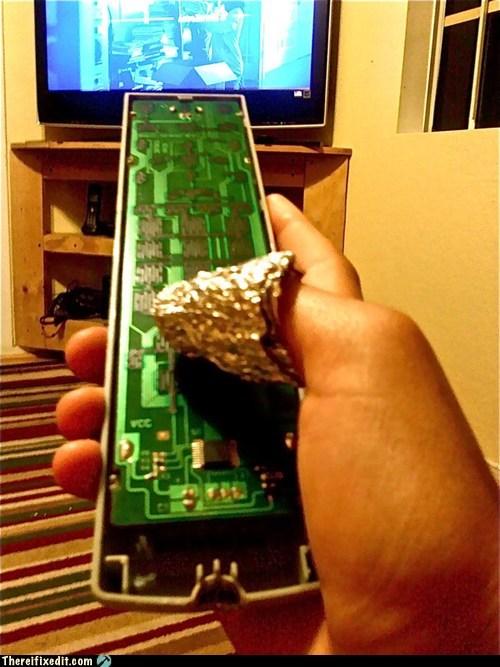 aluminum foil,remote,remote control,tin foil