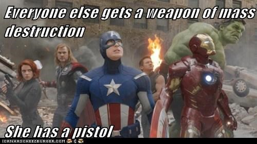 avengers,Black Widow,chris evans,chris hemsworth,hulk,iron man,pistol,scarlett johansson,steve rogers,weapons of mass descructi,weapons of mass descruction,wmds