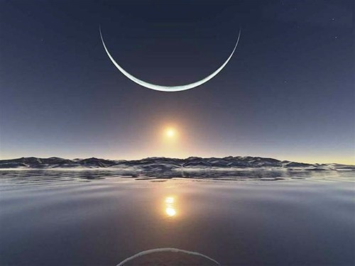 Sun and Moon Over The North Pole