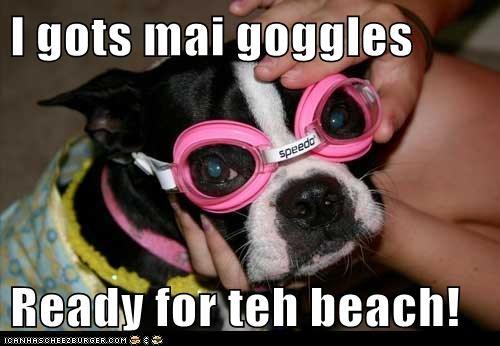 I gots mai goggles  Ready for teh beach!