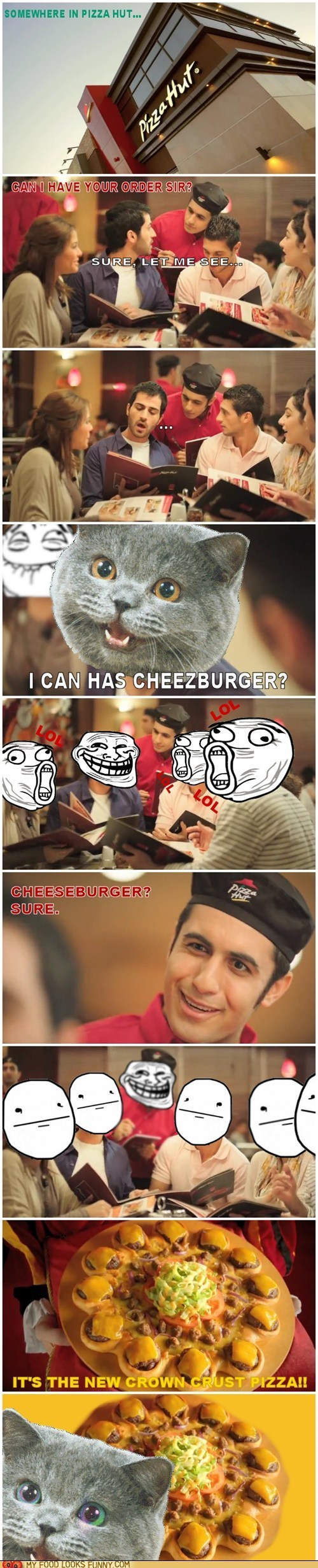 Cats,cheeseburger,cheezburgers,comic,commercial,food,happycat,multipanel,pizza,pizza hut
