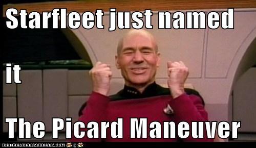 Captain Picard,happy,maneuver,patrick stewart,Star Trek,starfleet,success