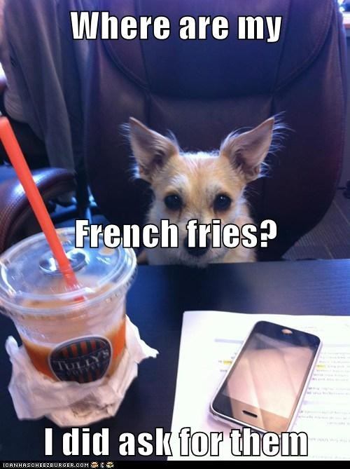 Where are my  French fries?  I did ask for them