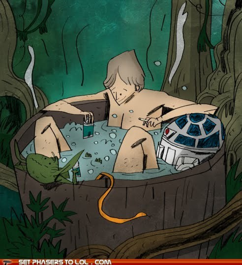 art,cartoons,hot tub,luke skywalker,r2d2,secrets,star wars,yoda