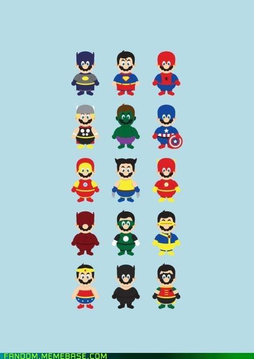 comics,crossover,FanArt,Super Mario bros,superheroes,video games